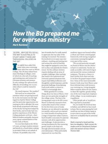 Page 12 of How the BD prepared me for overseas ministry