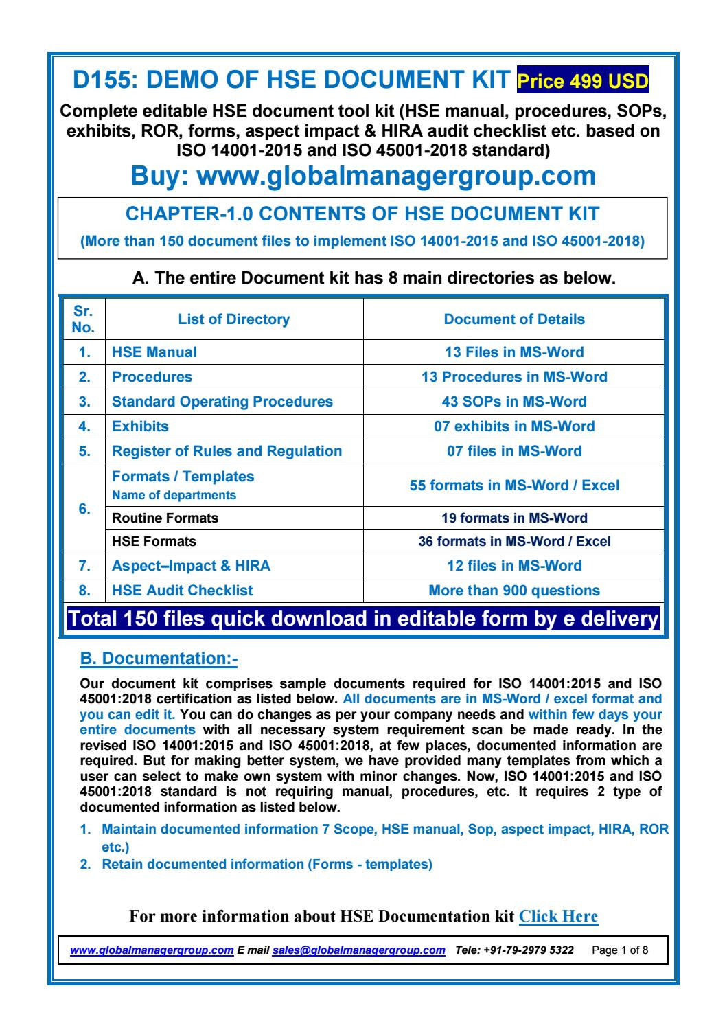 List of required hse documents for iso 14001 iso 450012018 list of required hse documents for iso 14001 iso 450012018 certification by global manager group issuu maxwellsz