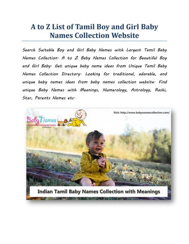 A to z list of tamil boy and girl baby names collection website by