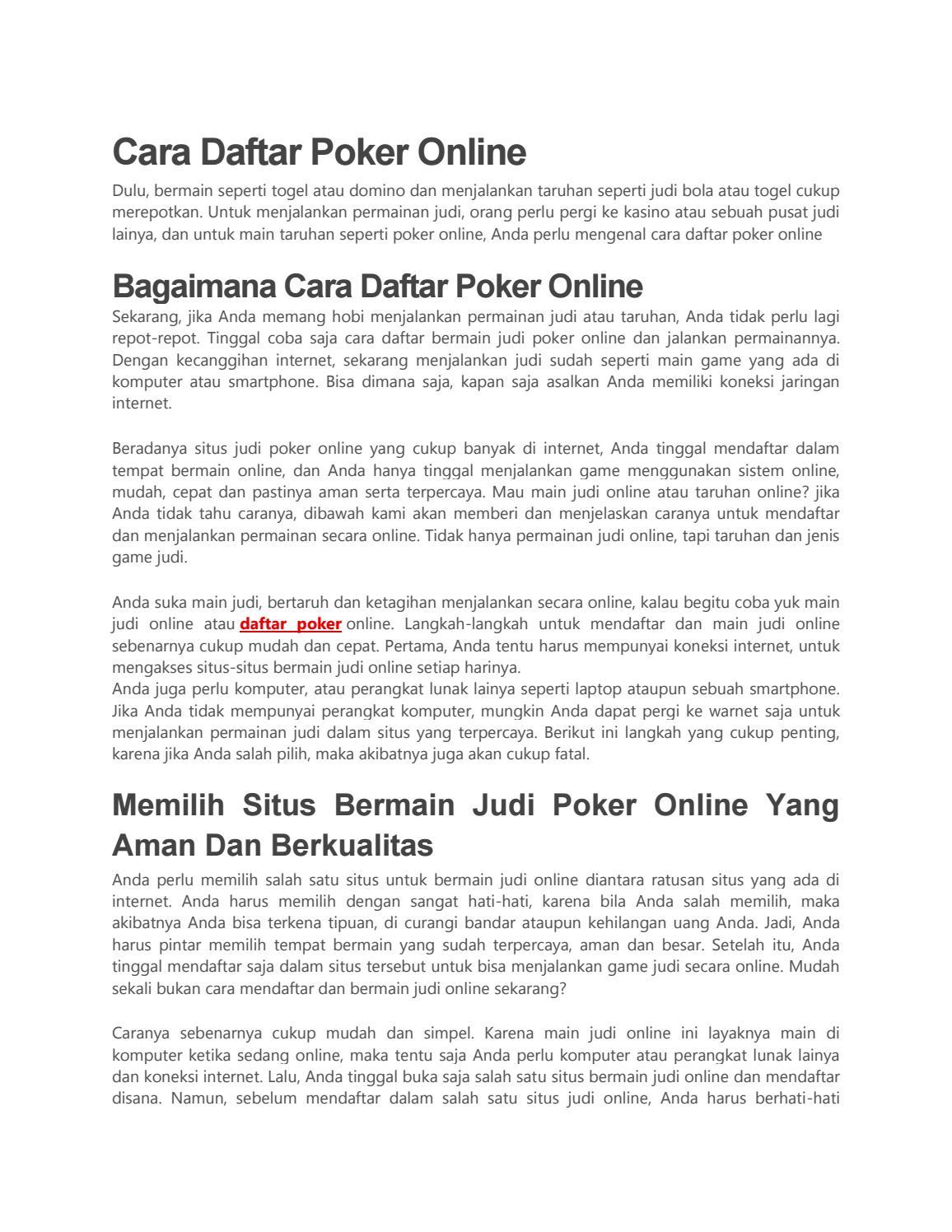 Cara Daftar Poker Online By Caradaftarpkroln Id Issuu