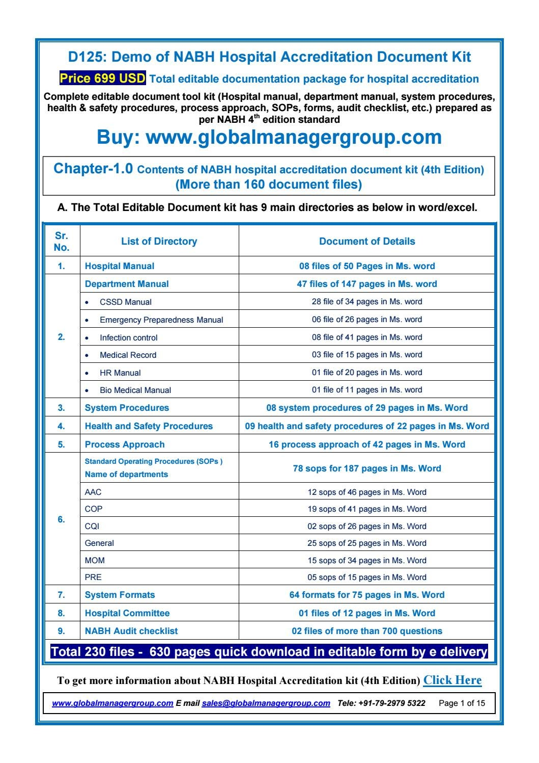 NABH Standard Documents by Global Manager Group - issuu