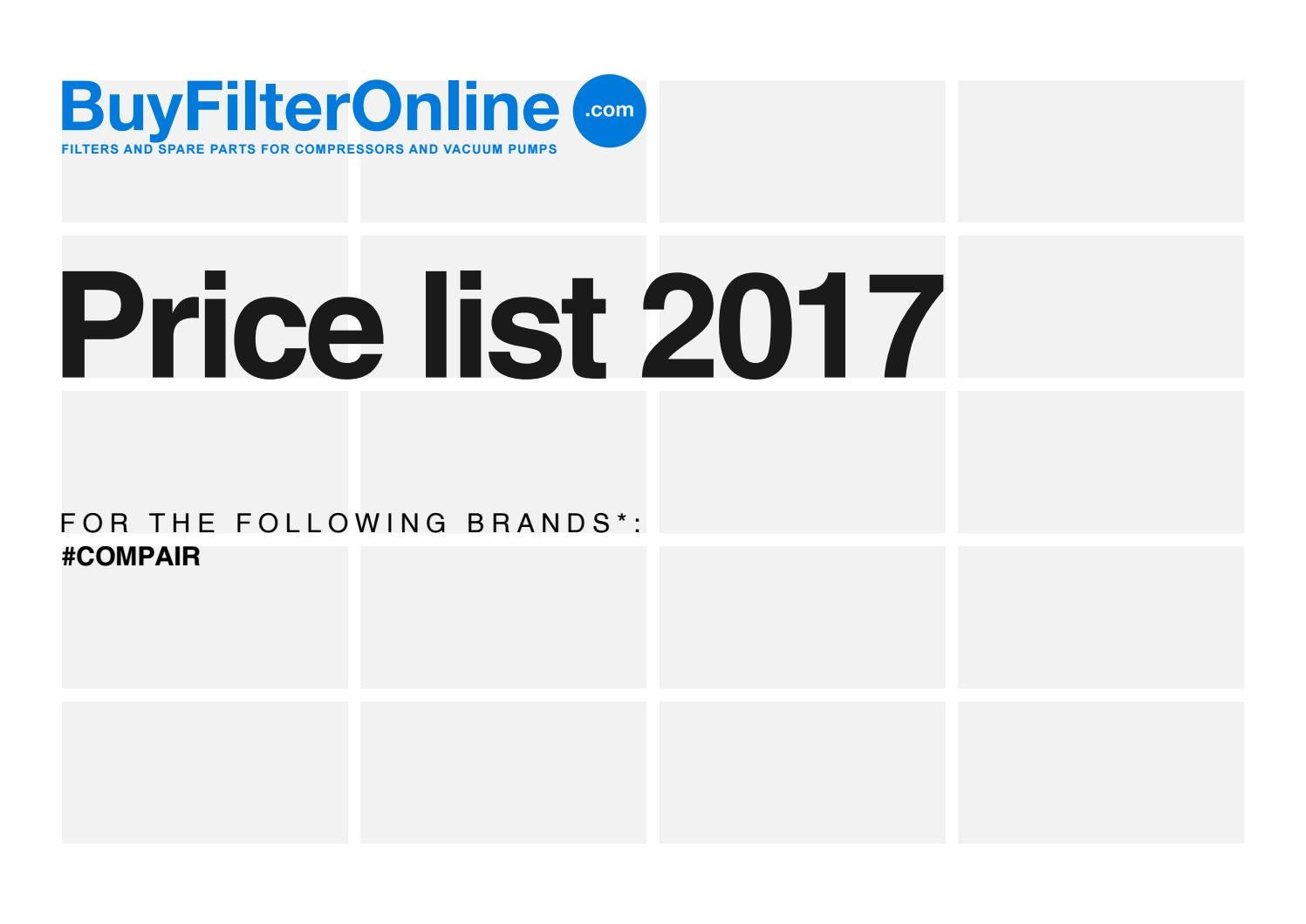 Buyfilteronline Com Filters For Compressors Price List