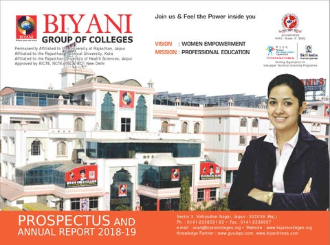 7f594ed9c8 Biyani college prospectus( 2018 - 19)- Best girls college in jaipur ...