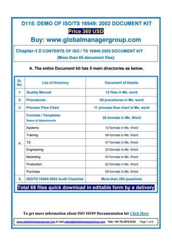 TS 16949 Certification Documentation by Global Manager Group - issuuIssuu