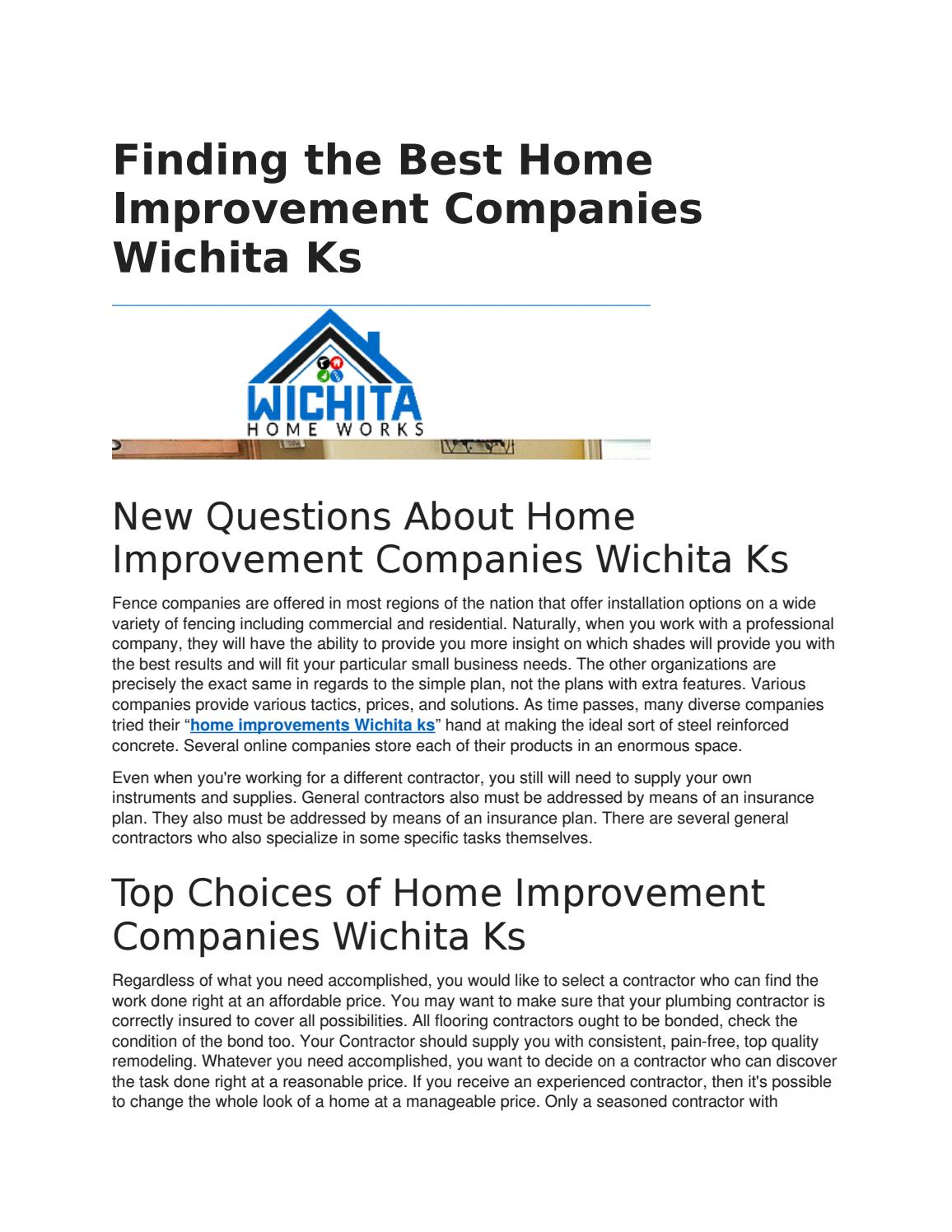 Finding The Best Home Improvement Companies Wichita Ks By