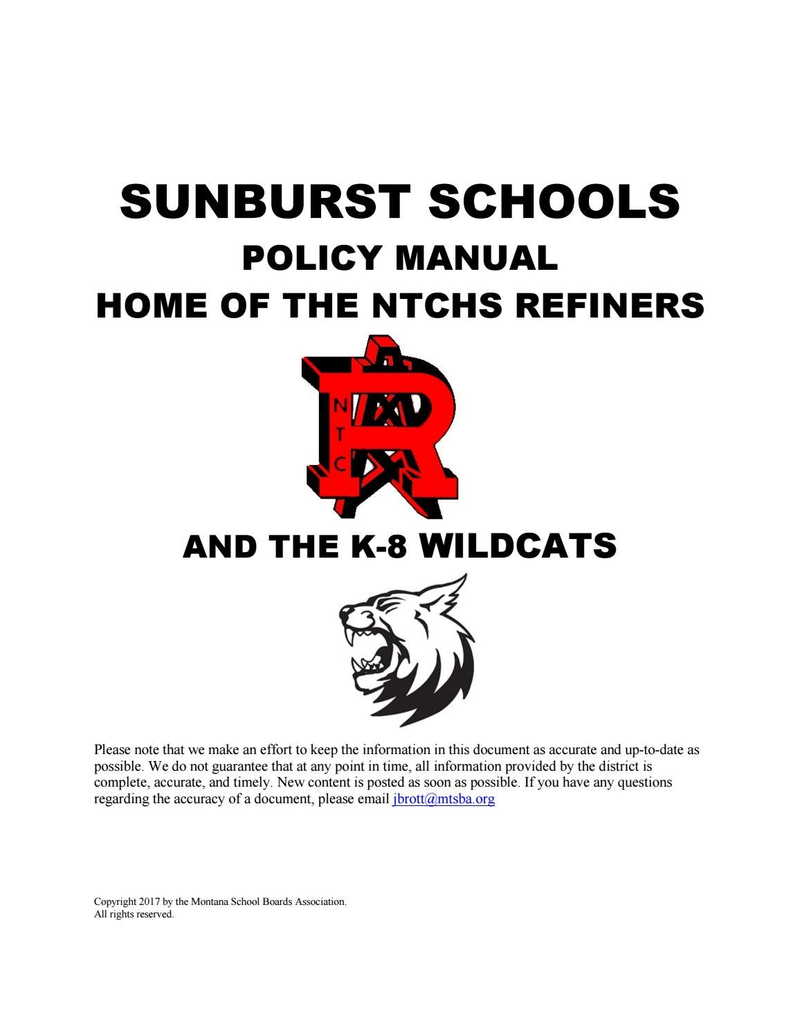 Sunburst K 12 Schools Policy Manual By Montana School Boards Example State Diagram Courseoffering Association Issuu
