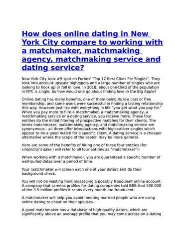 Best matchmaking service in nyc