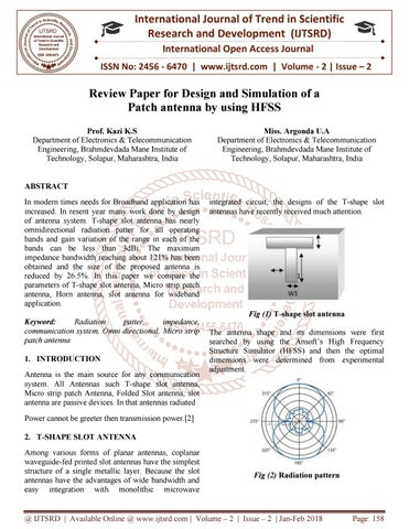 Review Paper for Design and Simulation of a Patch antenna by