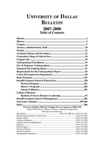 2007 2008 Ud Bulletin By University Of Dallas Issuu