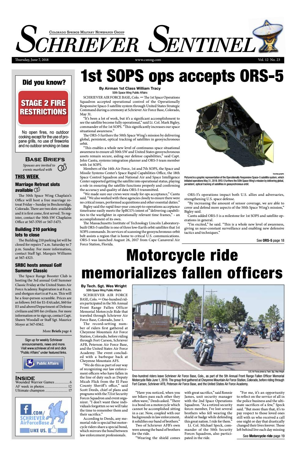 Schriever Sentinel June 7, 2018 by Colorado Springs Military