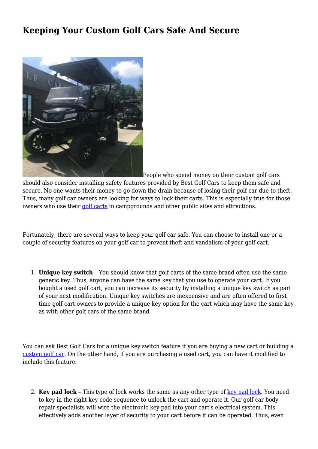 Keeping Your Custom Golf Cars Safe And Secure by Best Golf Cars - issuu