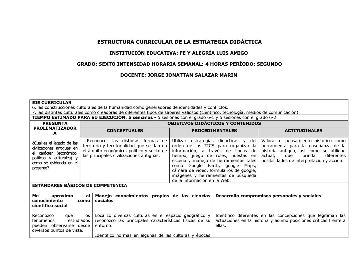 Estructura Curricular De La Estrategia Didáctica By Jorge
