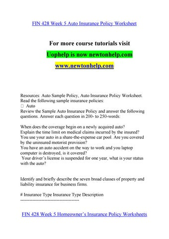 Auto Liability Limits Worksheet Answers Nidecmege