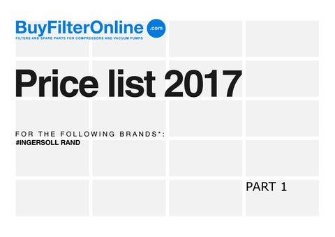 BuyFilterOnline com - Filters for compressors - Price List 2017