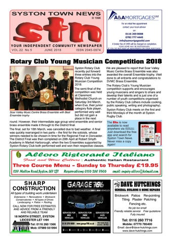 Syston Town News Your Independent Community Newspaper June 2018 by ... 28b3a36bbc0