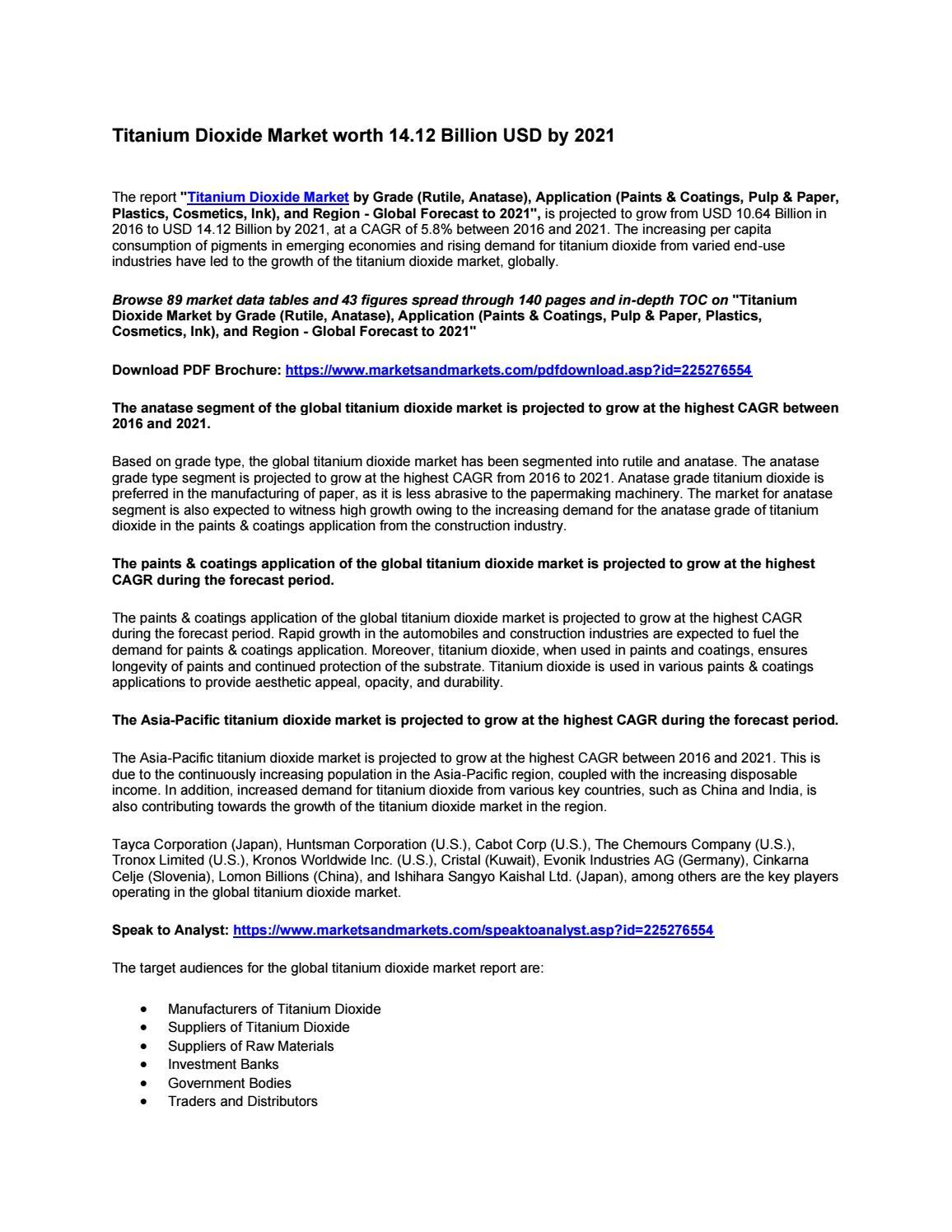 Titanium Dioxide Market worth 14 12 Billion USD by 2021 by abhijjetw