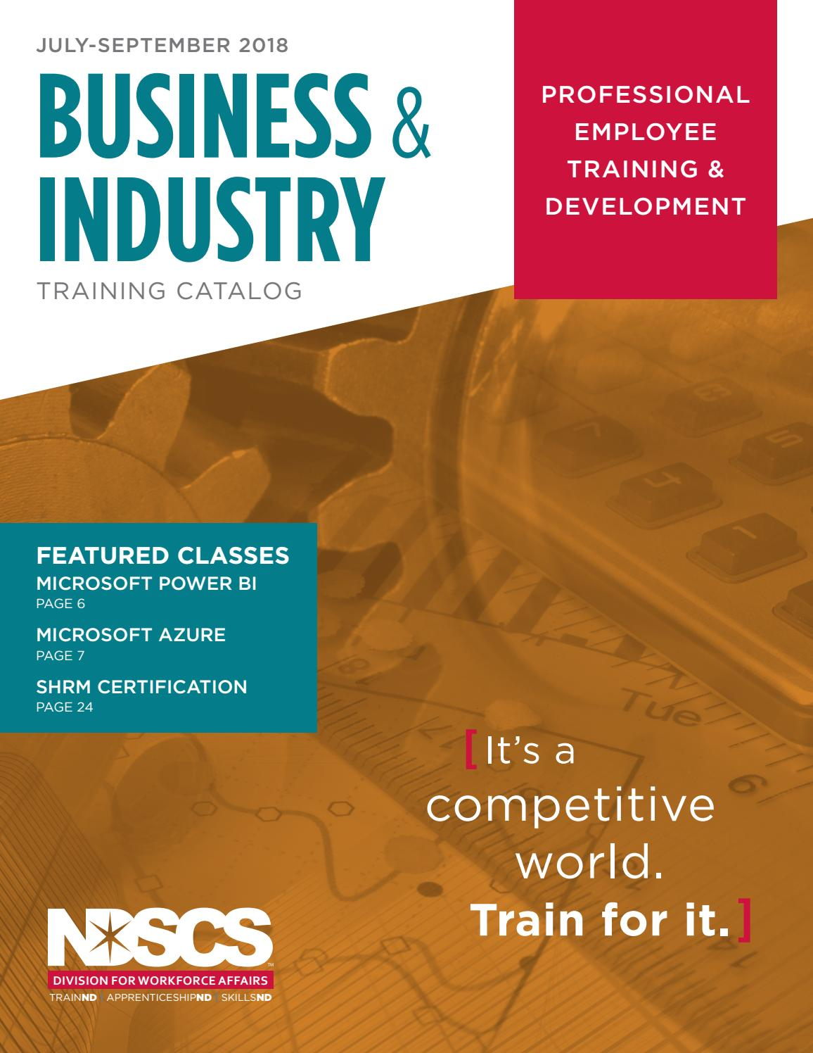 Business Industry Training Catalog July September 2018 By North