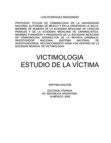 Victimologia Autor Dr Luis Rodriguez Manzanera By