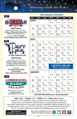 Page 14 of 2018 Summer Season Calendar