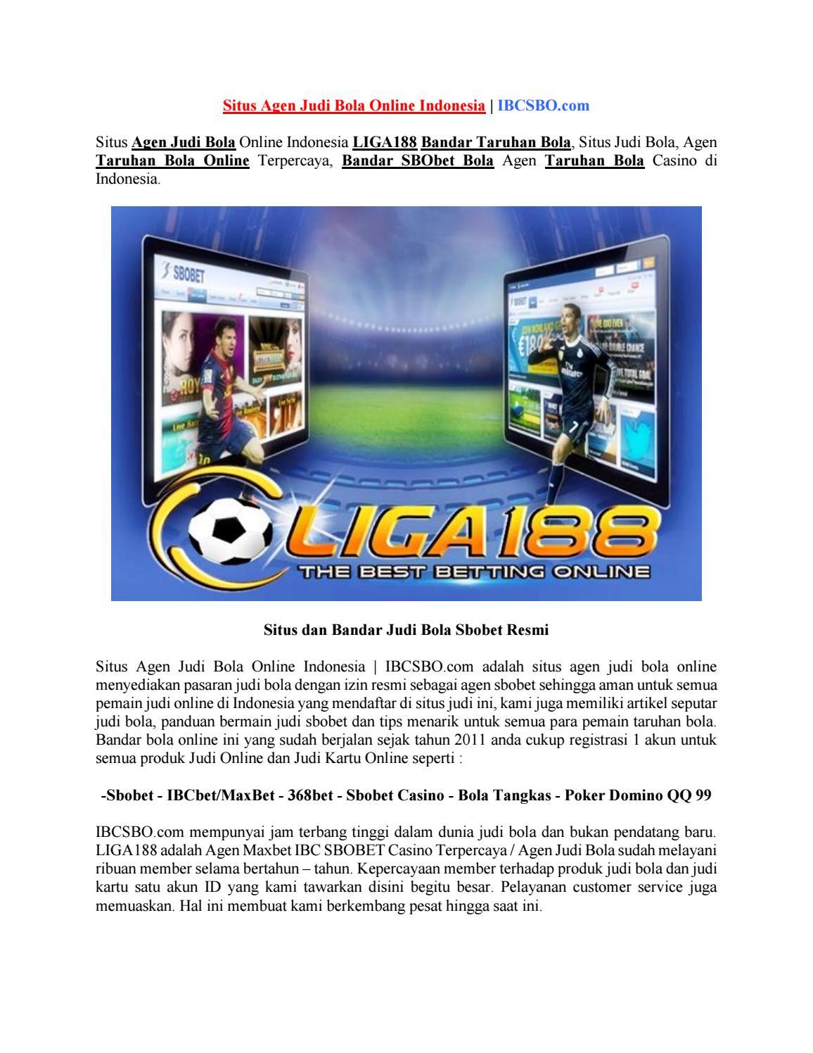 Situs Agen Judi Bola Online Indonesia Ibcsbo Com By Poker Domino 99 Issuu