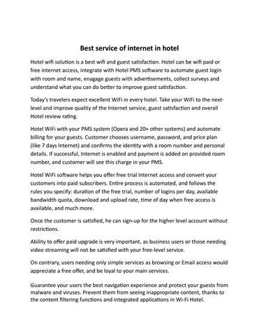 Best service of internet in hotel by WiFi Hotspot - issuu
