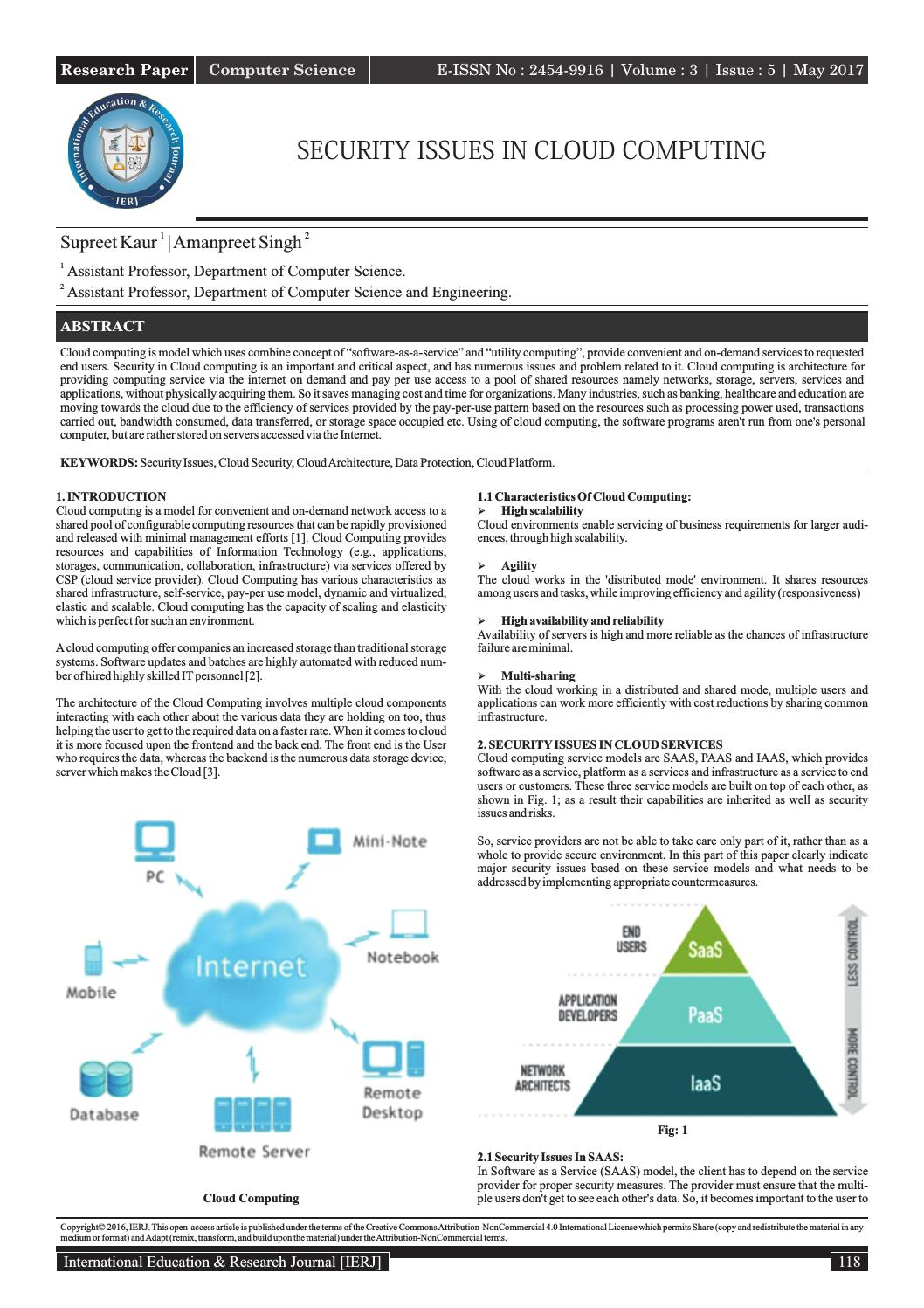 Security Issues In Cloud Computing By International Education And Research Journal Issuu