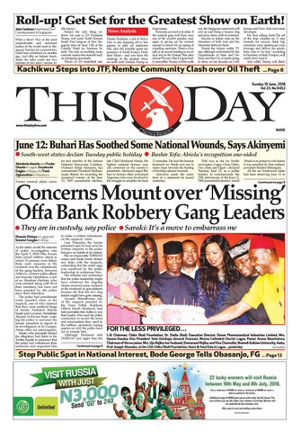 SUNDAY 10TH JUNE 2018 by THISDAY Newspapers Ltd - issuu