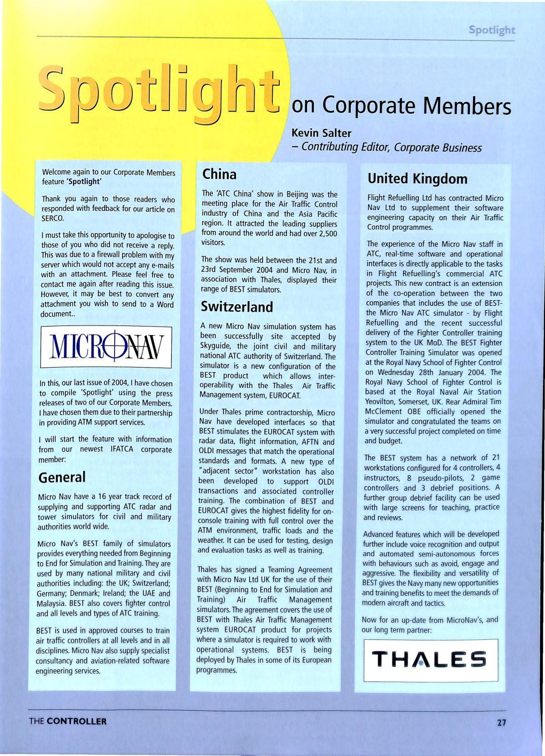 IFATCA The Controller - 4th quarter 2004 by IFATCA - issuu