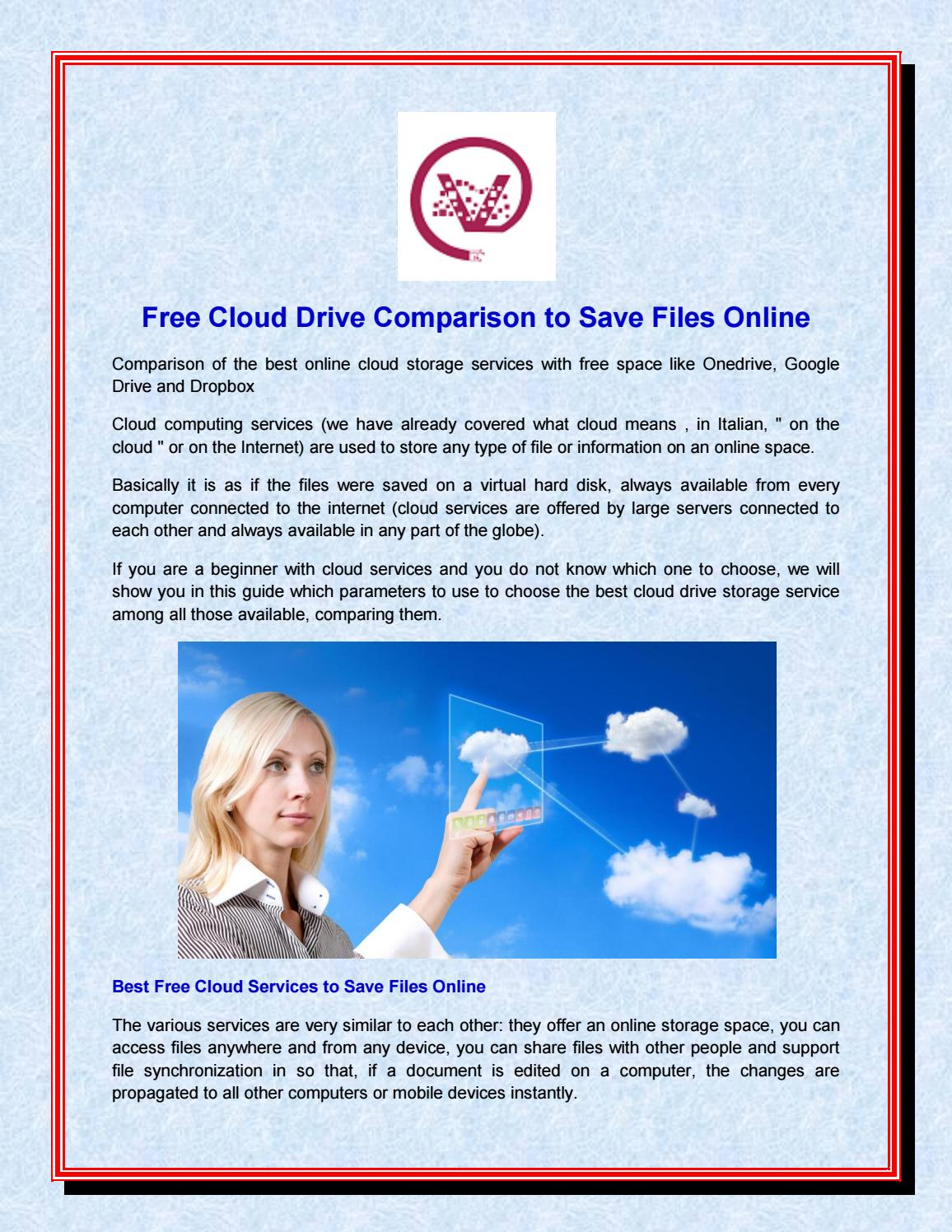 Free cloud drive comparison to save files online by Virtual