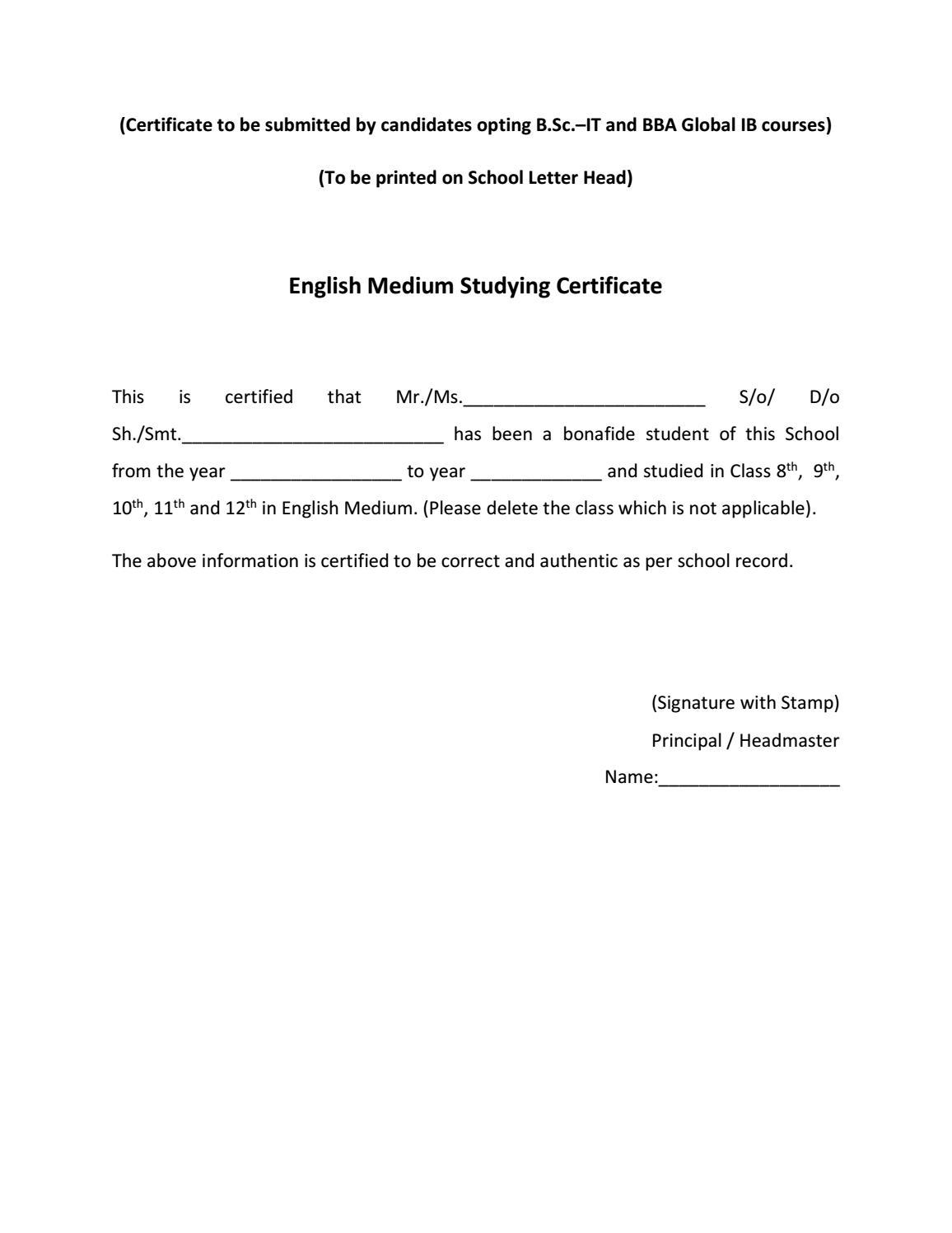 English Medium Studying Certificate Proforma For