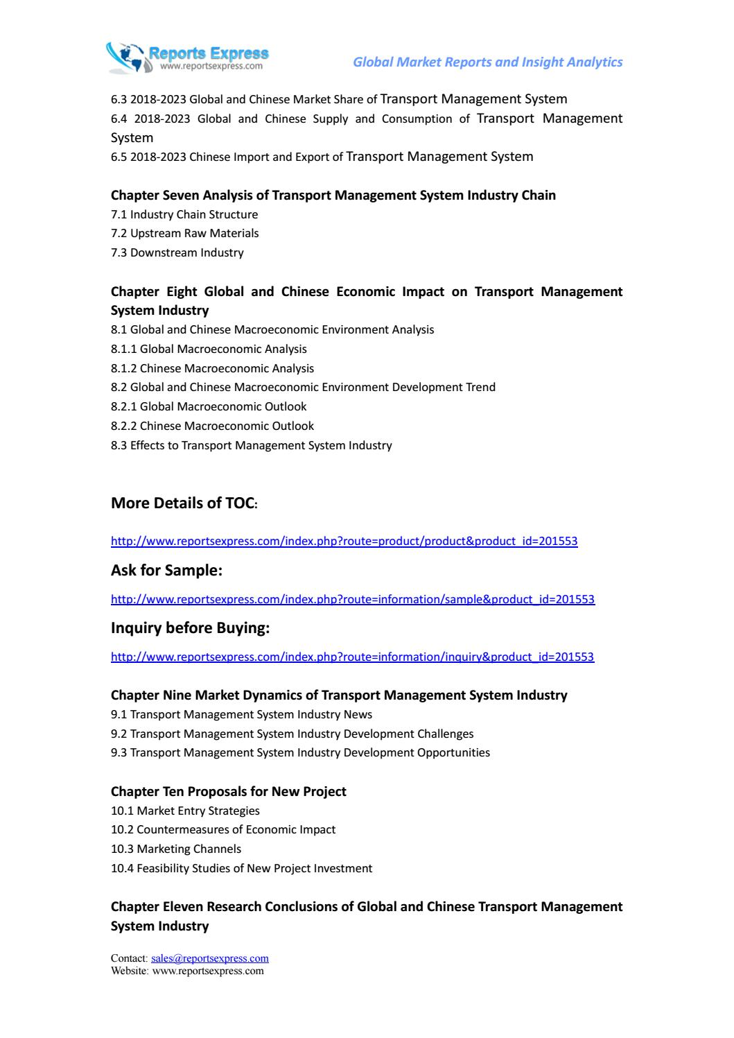 Global and chinese transport management system industry
