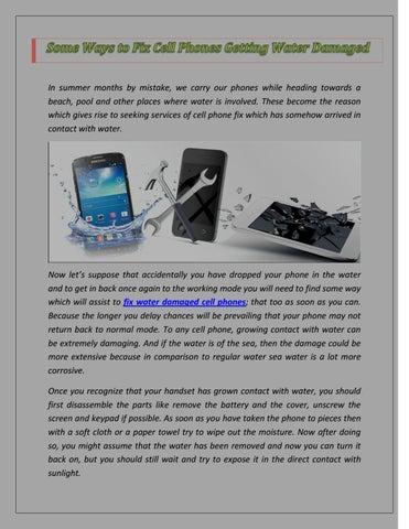 fix a water damaged phone after a month