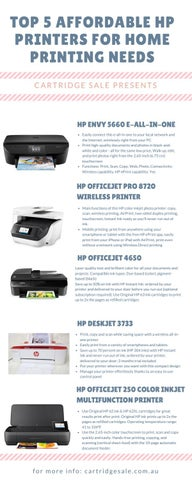 2018 Top 5 HP Printers for Home & Offices by Cartridge Sale