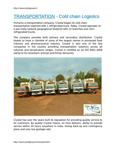 TRANSPORTATION - Cold chain Logistics by Crystalgroup by