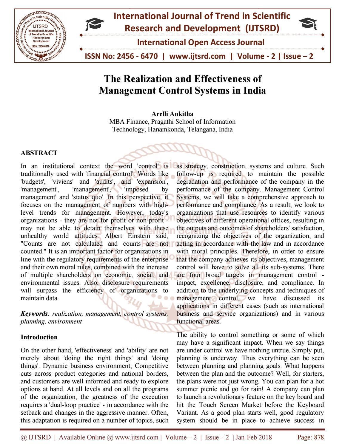 The Realization and Effectiveness of Management Control