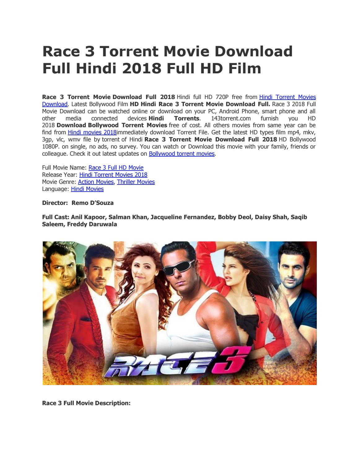Race 3 Torrent Movie Download Full Bollywood Hd Film By Videosrack Issuu