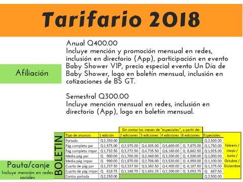Page 6 of Tarifario