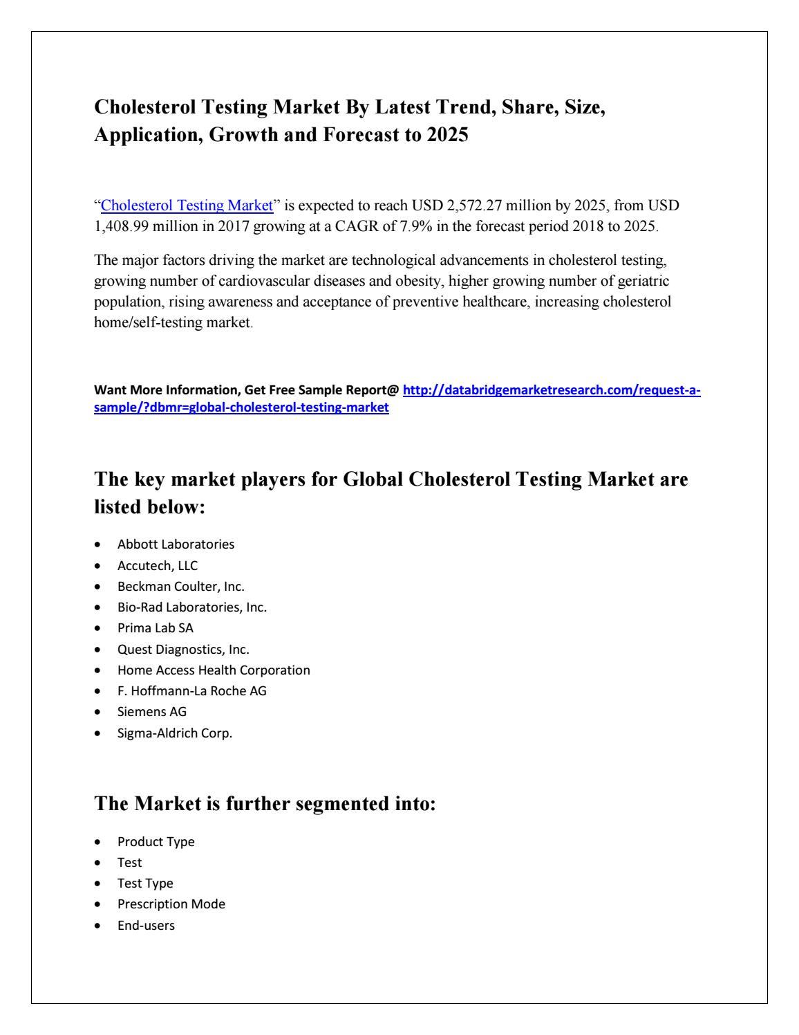 Cholesterol testing market pdf by kamran khan - issuu