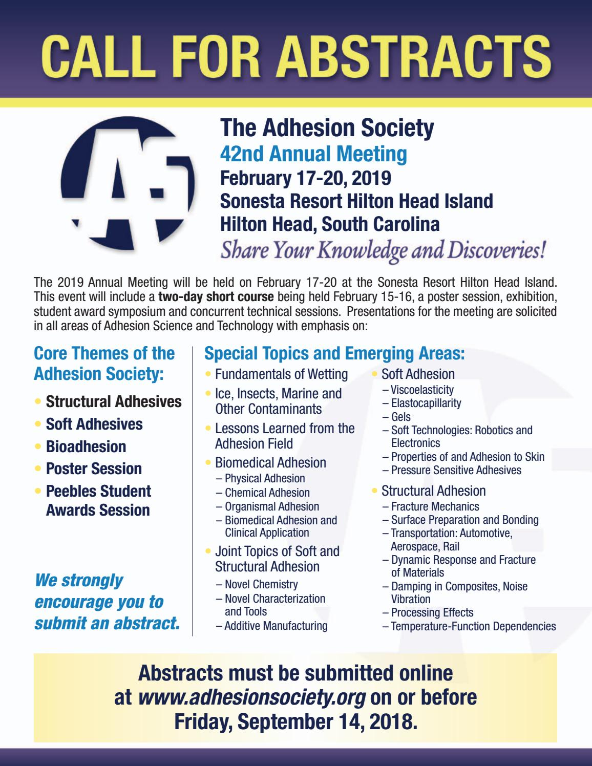 Adhesion Society 2019 Annual Meeting Call for Abstracts by The Adhesive &  Sealant Council - issuu