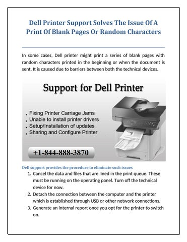 Dell Printer Support Solves The Issue Of A Print Of Blank