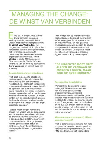 Page 10 of Managing the Change: De winst van verbinden [Dura Vermeer]