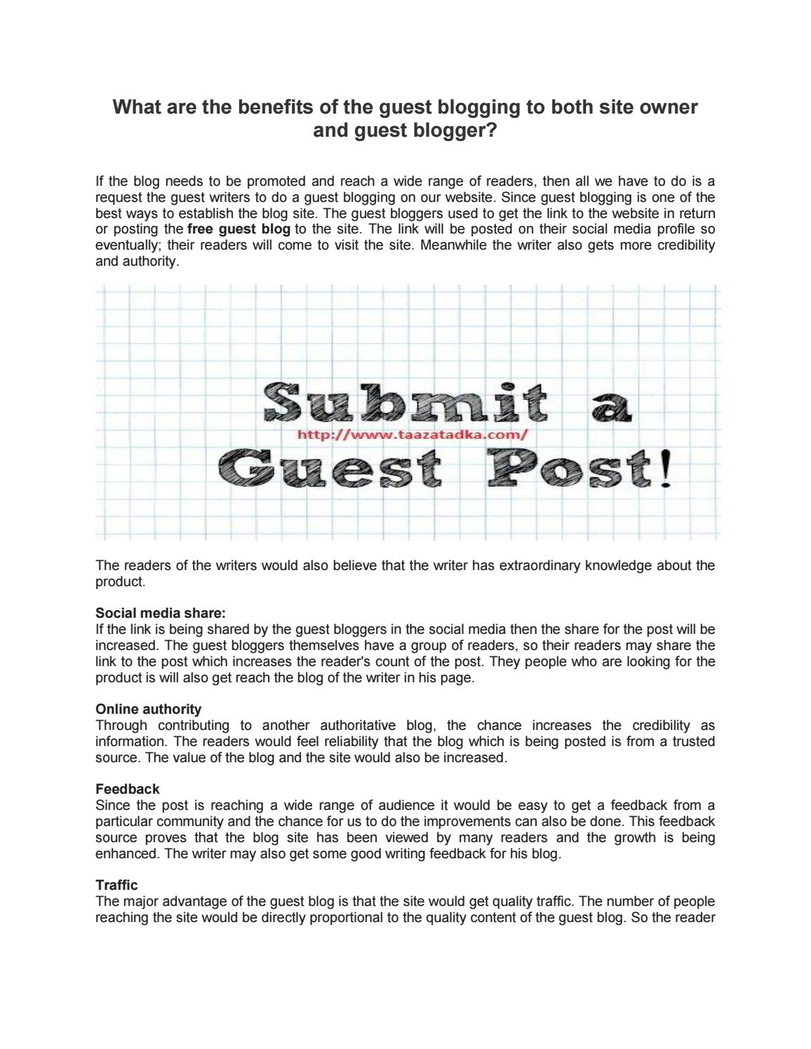 What are the benefits of the guest blogging to both site owner and