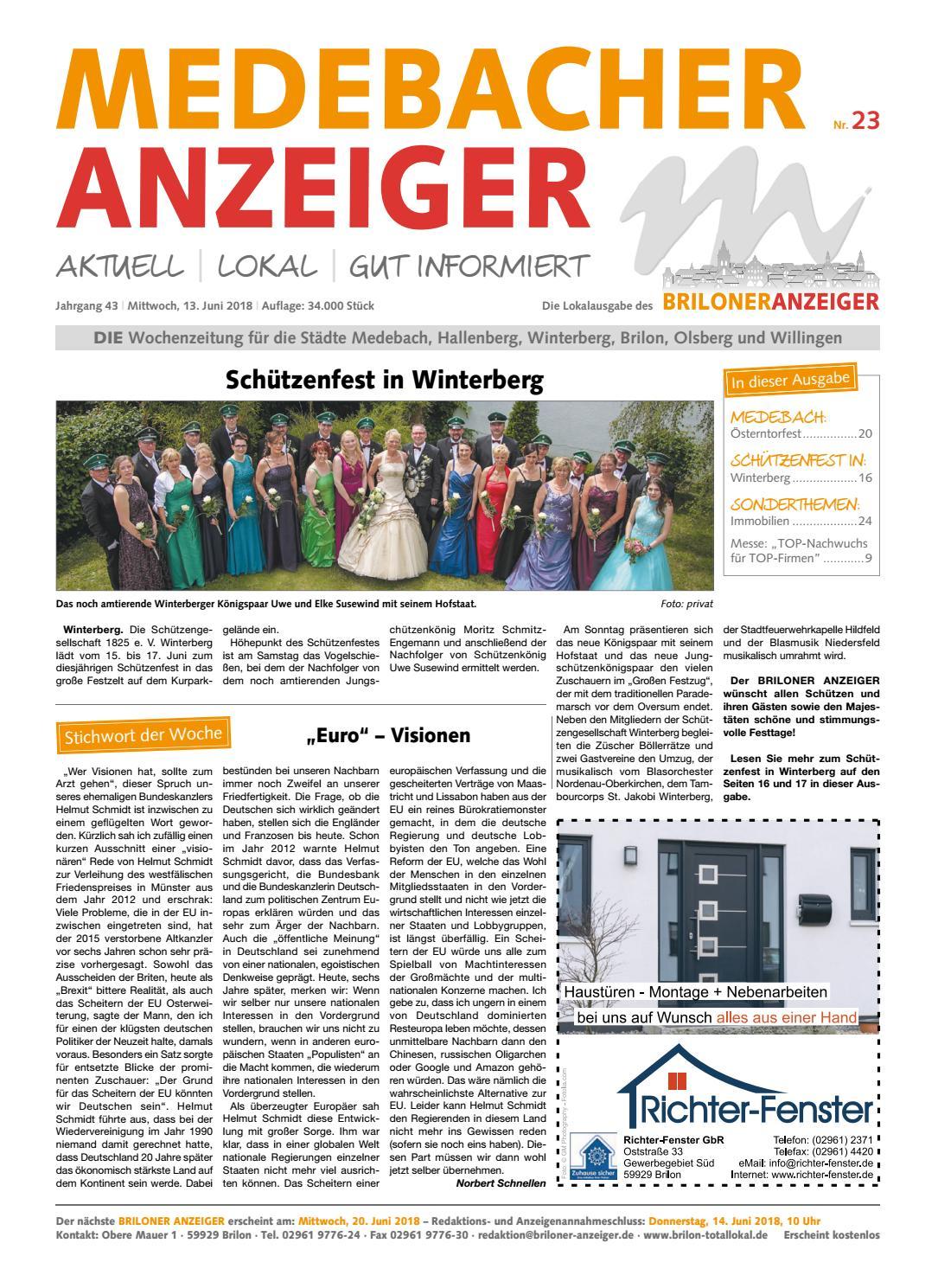 Medebacher Anzeiger Ausgabe vom13.06.2018 Nr.23 by Brilon-totallokal - issuu