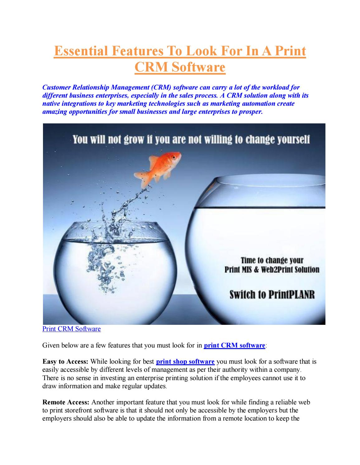 Print CRM Software Essential Features To Look For by