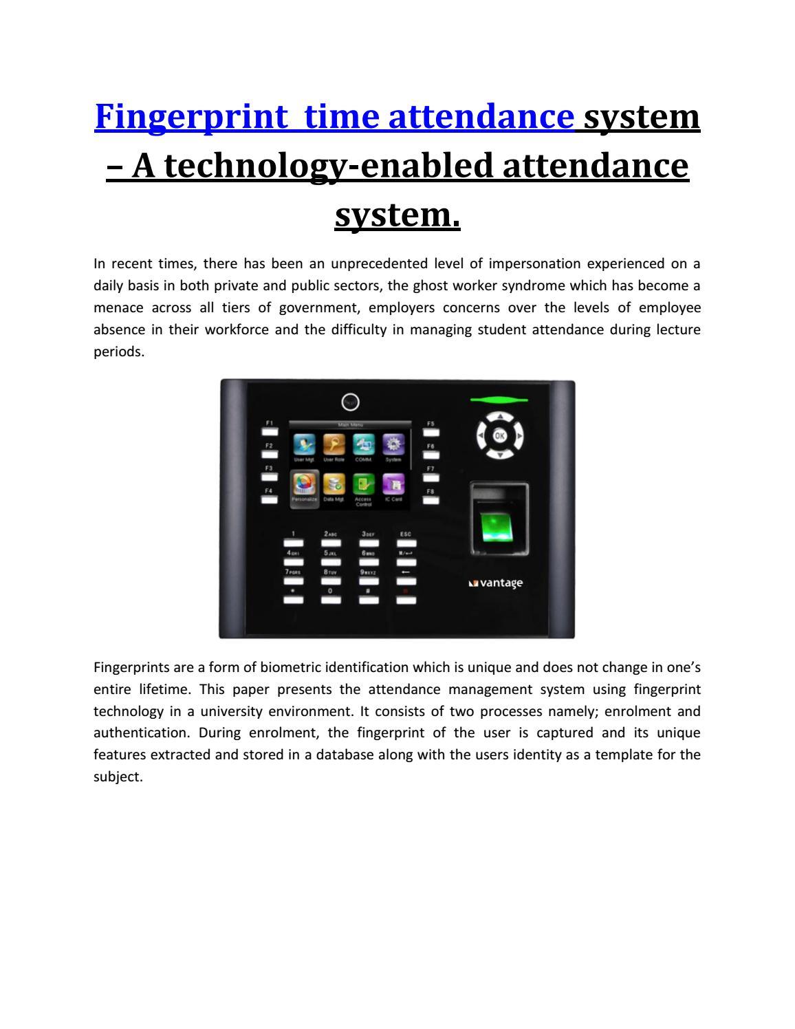 Fingerprint Time Attendance System A Technology Enabled Attendance