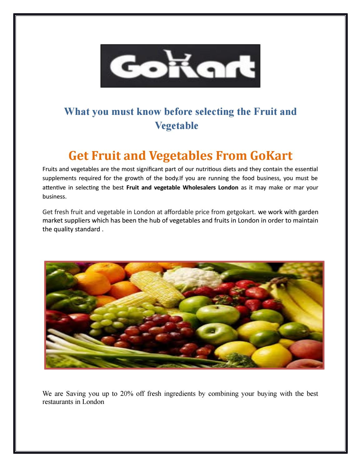 Leading Fruit and Vegetable supplier in London by getgoKart