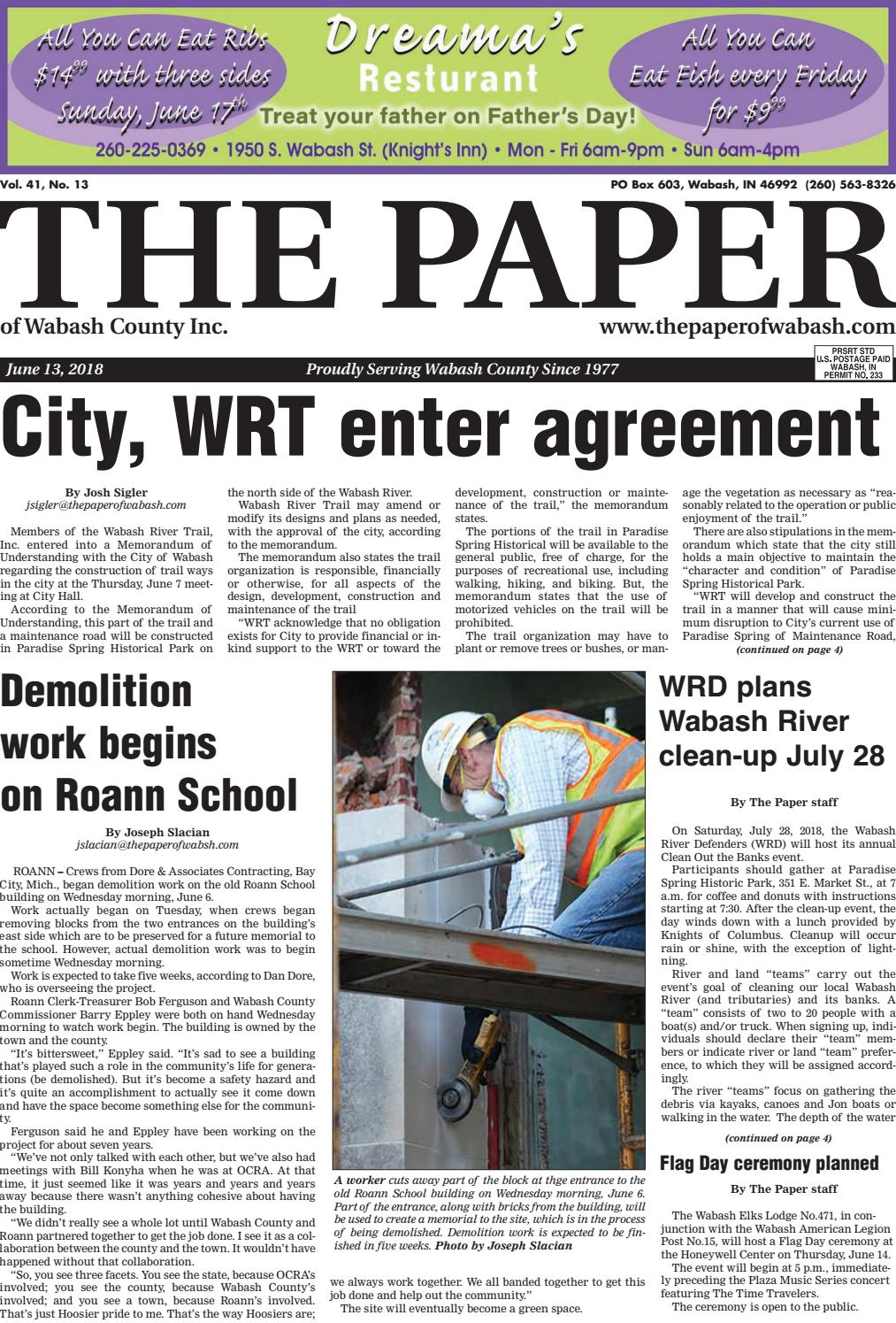 The Paper Of Wabash County June 13 2018 Issue By