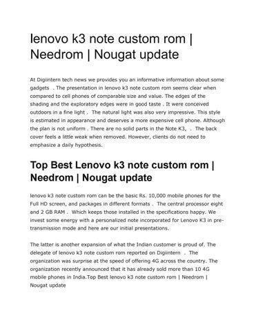 Lenovo k3 note custom rom needrom nougat update