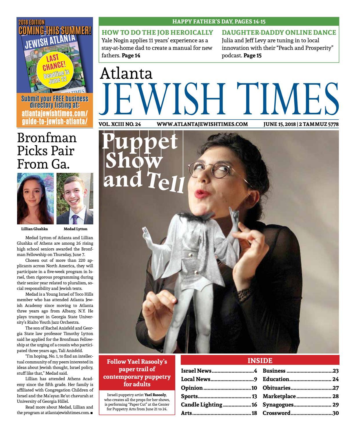 Atlanta Jewish Times, Vol. XCIII No. 24, June 15, 2018 by Atlanta Jewish  Times - issuu