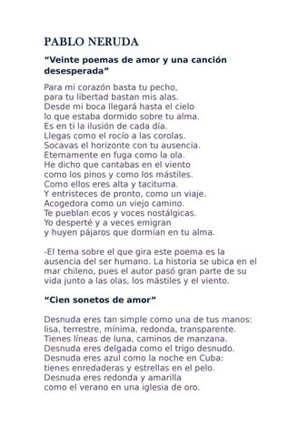 Poemas By Pablo Neruda 4b Issuu